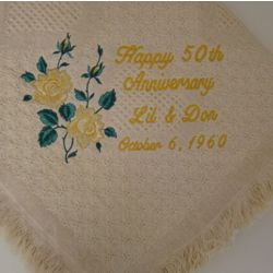 Golden Anniversary Roses Personalized Embroidered Afghan