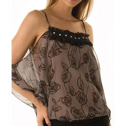 Charcoal and Black Sheer Dainty Twilight Roses Top
