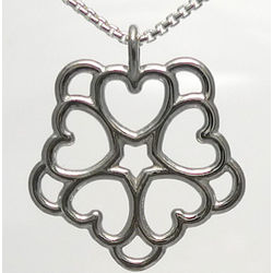 Sterling Silver Five Heart Rosette Necklace