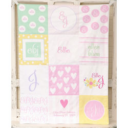 Personalized Patchwork Baby Blanket for Girl