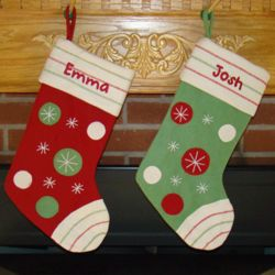 Polka Dotted Snowflake Personalized Christmas Stocking