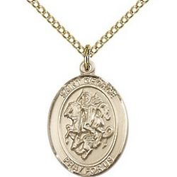Gold Filled St. George Pendant with Chain