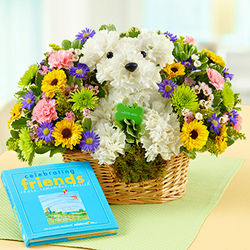 Puppy Floral Arrangement with Friend Keepsake Book