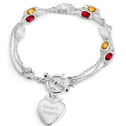Triple Strand Multi Birthstone Toggle Bracelet with Heart Charm