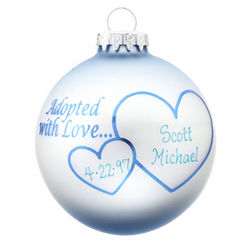 Personalized Adopted with Love Blue Christmas Ornament