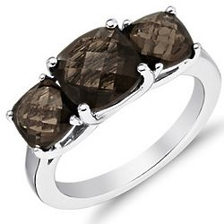 Sterling Silver Smokey Quartz Three Stone Ring