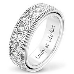 Personalized Diamond Ring with Engraved Hidden Message