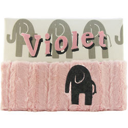 Grey and Pink Elephants Personalized Nursery Wall Art