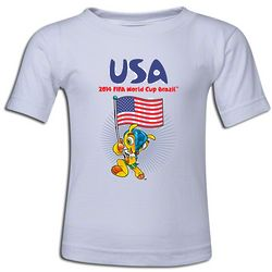 2014 FIFA World Cup Brazil Mascot and USA Flag T-Shirt