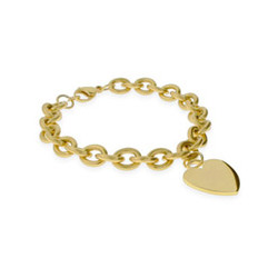 Tiffany Inspired Stainless Steel Gold Heart Tag Bracelet