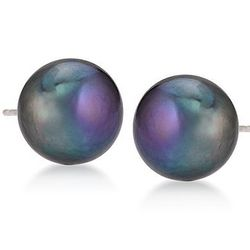 Black Cultured Pearl Earrings in 14kt White Gold