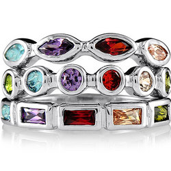 Sterling Silver Multicolor Cubic Zirconia Stackable Rings