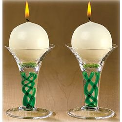 Handmade Emerald Twist Holders and Candles