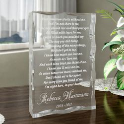 Personalized When Tomorrow Starts Keepsake Plaque
