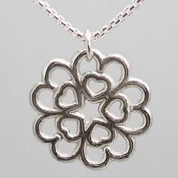 Sterling Silver Hearts in Hearts Rosette