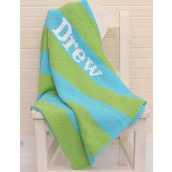 Wide Stripe Personalized Baby Blanket