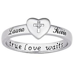 Platinum Plated Sterling Silver Couple's Purity Name Ring