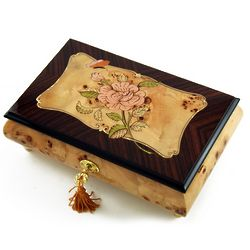 Pink Rose and Butterfly with Rosewood Frame Music Box
