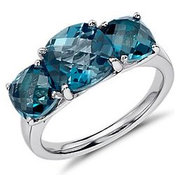 Sterling Silver London Blue Topaz Three Stone Ring