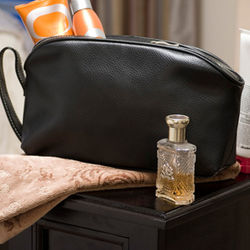 Black Leather Personalized Toiletry Bag