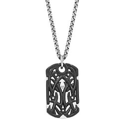 Stainless Steel IP Tribal Dog Tag Necklace
