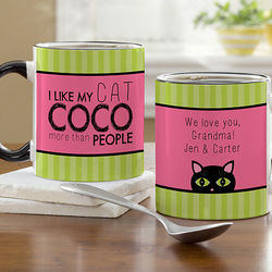 Cat Lover Personalized Black Handled Coffee Mug