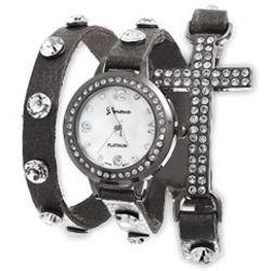 Cubic Zirconia Sideways Cross Wrap Watch in Gray Leather