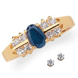 Sapphire and Crystal Ring with Cubic Zirconia Stud Earrings