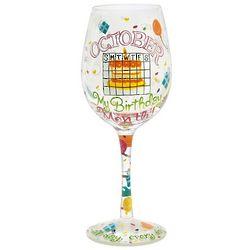 October Birthday Month Wine Glass