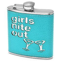 Teal Leather Girl's Nite Out Flask