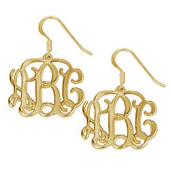 18k Gold-Plated Monogram Earrings