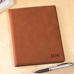 Personalized 3-Initial Rawhide Leatherette Portfolio