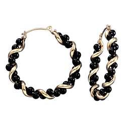 Black Onyx and 14k Gold Twisted Hoop Earrings