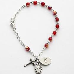 Personalized July Birthstone Rosary Bracelet
