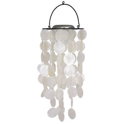 White with Black Accents Capiz Solar Wind Chime