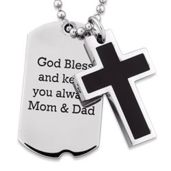 Stainless Steel Engraved Dog Tag and Cross Necklace