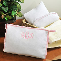 Personalized Pink Trim Terry Cosmetic Bag Set