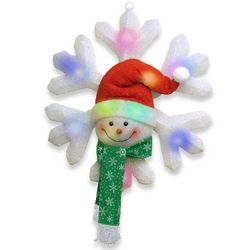 Cotton Snowflake and Snowman with Color Changing LED Lights