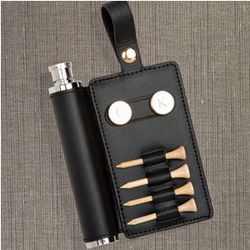 Black Leather Personalized Golf Accessory Caddy with Flask