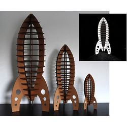 Cardboard Astro Rocket Figurine