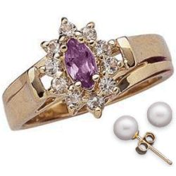 Marquise Amethyst and Crystal Ring with Freshwater Pearl Studs