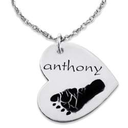 Sterling Silver Engraved Name and Footprint Heart Pendant