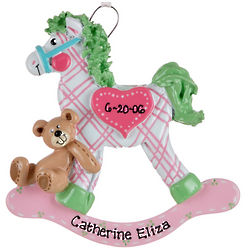Personalized Pink Plaid Rocking Horse Ornament