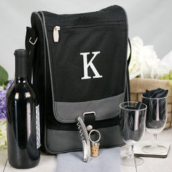 Embroidered Initial Wine Tote with Wine Tools