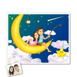 Sitting on the Moon Romance Personalized Caricature from Photos