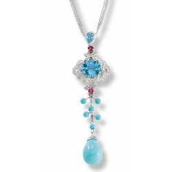 14k White Gold Turquoise Diamond and Multi Color Gemstone Pendant