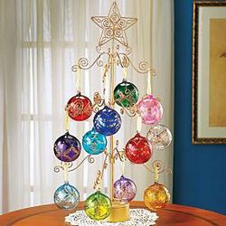 Spinning Gold Metal Tree for Ornament Display