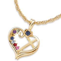 Mother's Birthstone Heart Cross Pendant