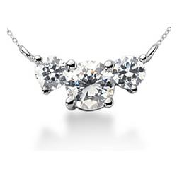 Diamond Three Stone Pendant in 14K White Gold
