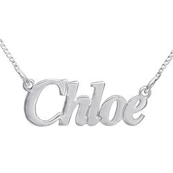 Small Angel Style Silver Personalized Name Necklace